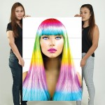 The Rainbow Colorful Hair Block Giant Wall Art Poster