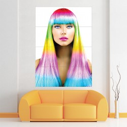 The Rainbow Colorful Hair Block Giant Wall Art Poster (P-2152)