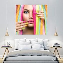 Straight Hair Rainbow Color Block Giant Wall Art Poster (P-2153)