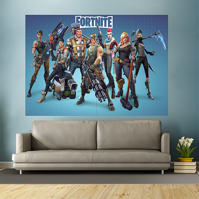 fortnite game block giant wall art poster. Black Bedroom Furniture Sets. Home Design Ideas