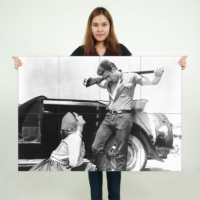 355f98f7b ... James Dean and Elizabeth Taylor in Giant Block Giant Wall Art Poster ...