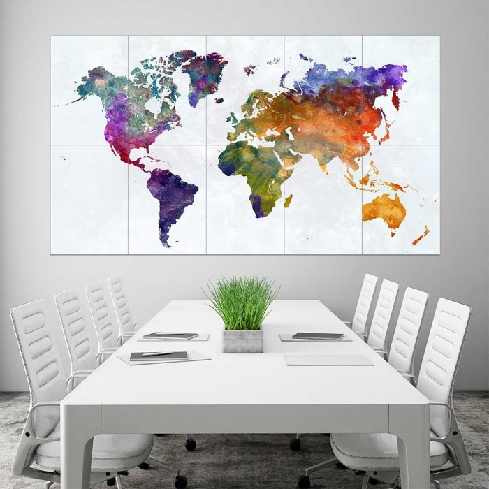 Rainbow watercolor world map block giant wall art poster gumiabroncs Images