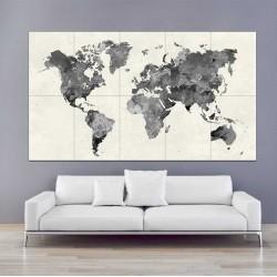 โปสเตอร์ ขนาดใหญ่ แผนที่โลก สีน้ำ Black Watercolor World Map (P-2195)