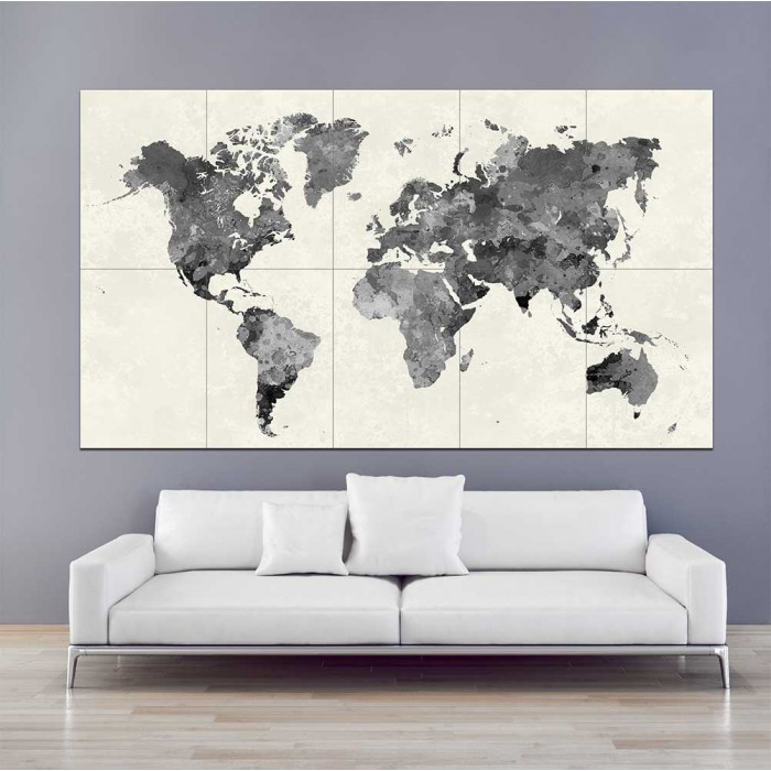 Black watercolor world map block giant wall art poster gumiabroncs Images