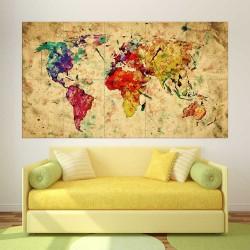 โปสเตอร์ ขนาดใหญ่ แผนที่โลก สีน้ำ  Retro Watercolor World Map  (P-2196)