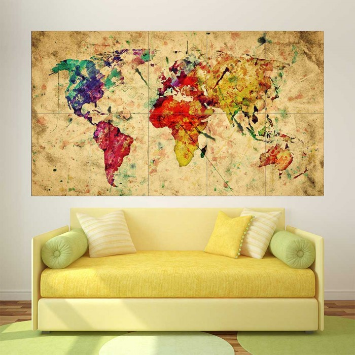 Retro watercolor world map block giant wall art poster gumiabroncs Images
