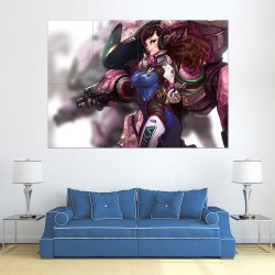 Overwatch D.Va Bodysuit Headphones  Block Giant Wall Art Poster (P-2232)