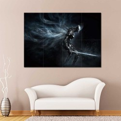 Dark Souls III Dark Warrior  Block Giant Wall Art Poster (P-2269)