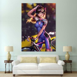 Overwatch D.Va Bicycle Racing Block Giant Wall Art Poster (P-2274)