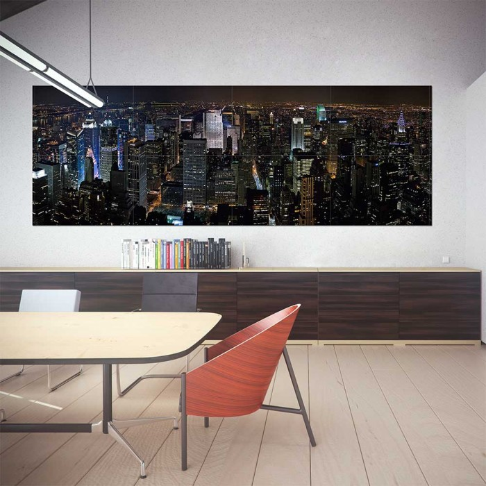 new york city panorama block giant wall art poster. Black Bedroom Furniture Sets. Home Design Ideas