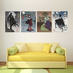 Batman Harley Quinn Joker Penquin Japan Artprint Block Giant Wall Art Poster (P-2376)