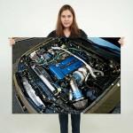 โปสเตอร์ ขนาดใหญ่ Nissan skyline engine Bay