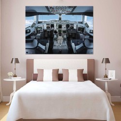 Boeing Airbus A380 Cockpit Airplane  Block Giant Wall Art Poster (P-2410)