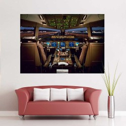 Boeing 777 Cockpit Airplane  Block Giant Wall Art Poster (P-2411)