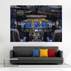 Boeing Airline 737 Cockpit Flight Deck Block Giant Wall Art Poster (P-2412)