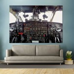 Aircraf Airplane Cockpit Flight Deck Block Giant Wall Art Poster
