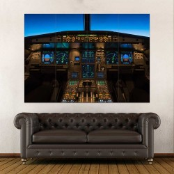 Jet Aircraft Cockpit Flight Deck  Block Giant Wall Art Poster (P-2415)