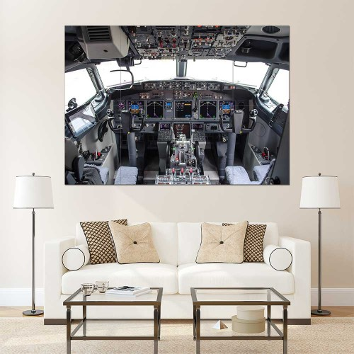Boeing 737-800 Cockpit Flight Deck Block Giant Wall Art Poster