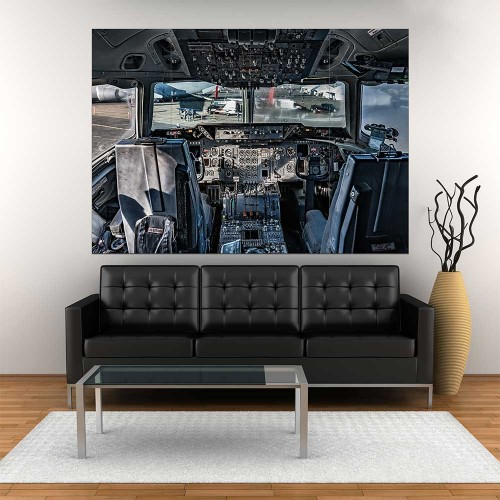Airplane Cockpit Flight Deck Block Giant Wall Art Poster