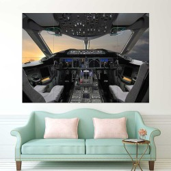 Boeing 787 Cockpit Flight Deck  Block Giant Wall Art Poster (P-2419)