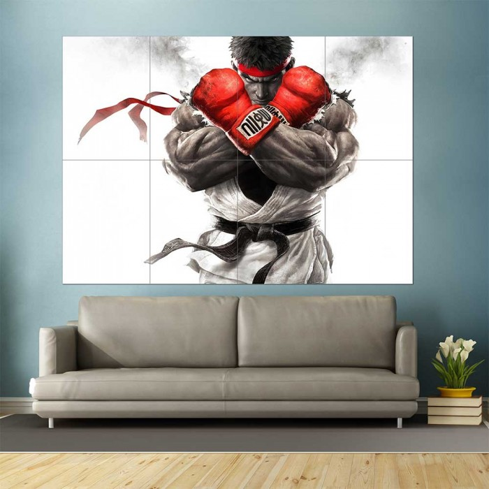 Street Fighter Ryu Block Giant Wall Art Poster