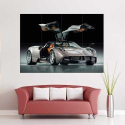 Pagani Huayra Gunmetal Supercar  Block Giant Wall Art Poster (P-2476)
