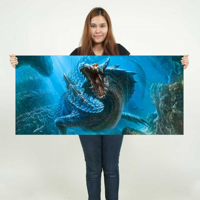 Large Dragon 2 Fantasy Myth Gothic Magic Fire  Wall Poster Art Picture Print
