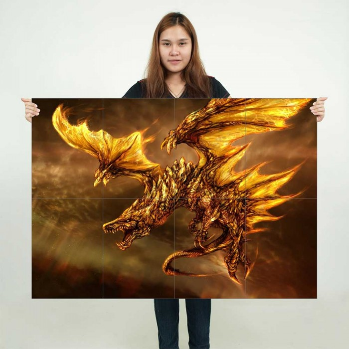 Large Phoenix Dragon Fantasy Myth Gothic Magic Wall Poster Art Picture Print