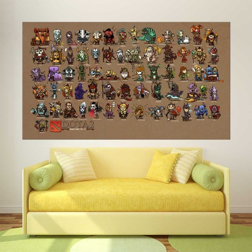 Dota 2 Mini Heroes Character  Block Giant Wall Art Poster