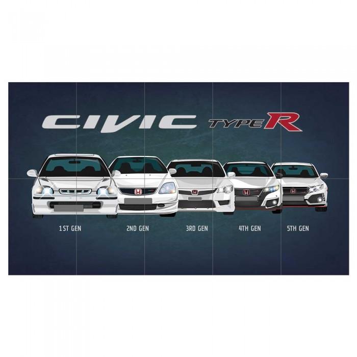 Honda Civic Generations >> Honda Civic Type R Generation Block Giant Wall Art Poster