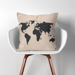 World Map  Linen Cotton throw Pillow Cover (PW-0005)