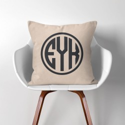 Personalized  Monogram V.2  Linen Cotton throw Pillow Cover (PW-0029)