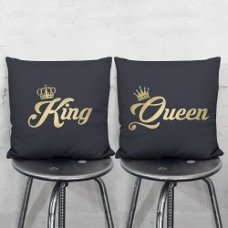King and Queen Crowns Pair Pillowcases Set  (PW-0033)