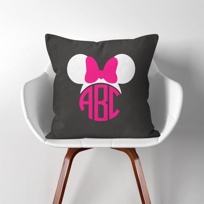 Personalized Monogram Minnie Mouse Linen Cotton Throw Pillow Cover Impressive Minnie Mouse Decorative Pillow