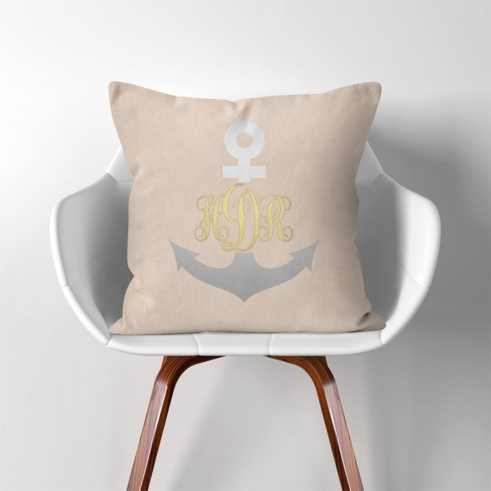 Personalized Anchor Monogram Linen Cotton Throw Pillow Cover Impressive Monogrammed Throw Pillow Covers