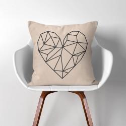 Geometric Polygon Heart  Linen Cotton throw Pillow Cover (PW-0050)