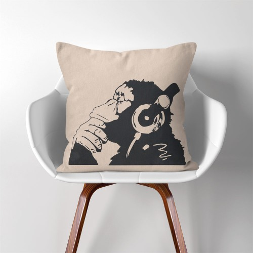 Banksy Monkey with Headphones  Linen Cotton throw Pillow Cover