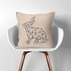 Geometric Polygon Rabbit  Linen Cotton throw Pillow Cover (PW-0071)