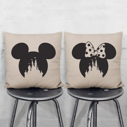 Disney Castle Mickey Minnie Mouse Pair Pillowcases Set