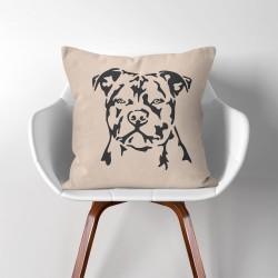 Dog American Pitbull Linen Cotton throw Pillow Cover (PW-0086)