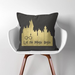 Harry Potter Let The Magic Begin  Linen Cotton throw Pillow Cover (PW-0087)