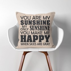 You Are My Sunshine  Linen Cotton throw Pillow Cover (PW-0092)