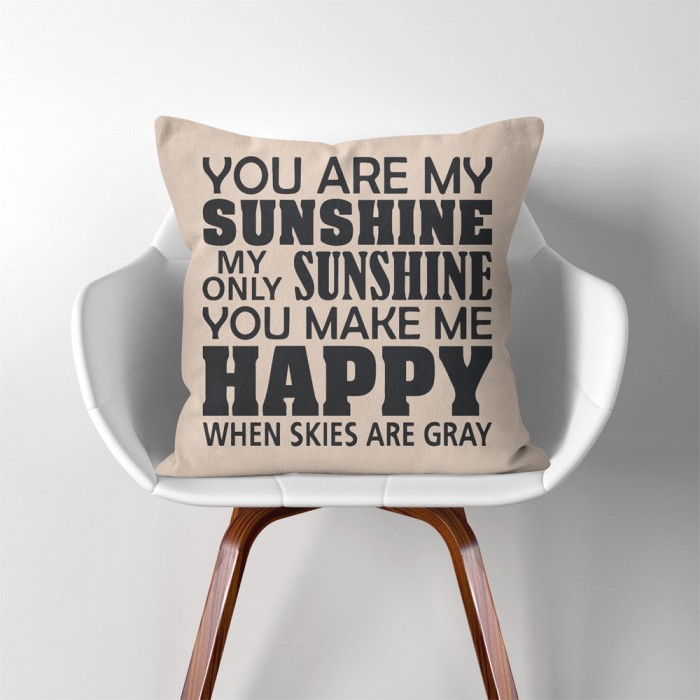You Are My Sunshine Linen Cotton Throw Pillow Cover Adorable You Are My Sunshine Decorative Pillow