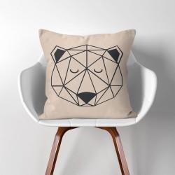 Geometric Polygon Polar Bear  Linen Cotton throw Pillow Cover (PW-0095)