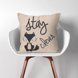 Stay clever Fox  Linen Cotton throw Pillow Cover (PW-0109)
