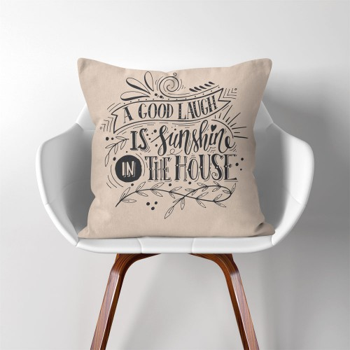 A Good Laugh is Sunshine in The House  Linen Cotton throw Pillow Cover
