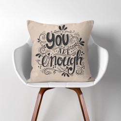 You are enough  Linen Cotton throw Pillow Cover (PW-0114)
