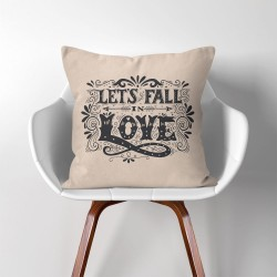 Let's fall in love  Linen Cotton throw Pillow Cover (PW-0116)