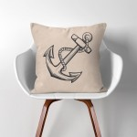 Anchor  Linen Cotton throw Pillow Cover