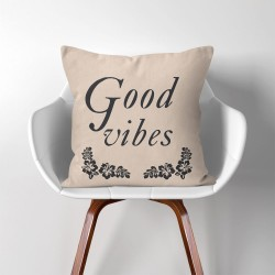 Good vibes  Linen Cotton throw Pillow Cover (PW-0145)